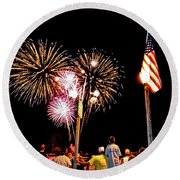 Fireworks And The Flag Round Beach Towel