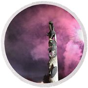 Fireworks And Totem Pole Round Beach Towel
