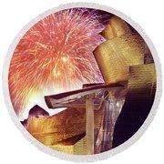 Fireworks At Guggenheim Round Beach Towel
