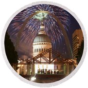 Fireworks At The Arch 1 Round Beach Towel