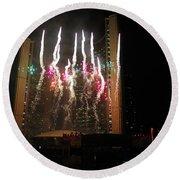 Fireworks At Toronto City Hall Round Beach Towel