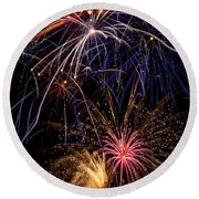 Fireworks Celebration  Round Beach Towel