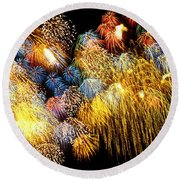 Fireworks Exploding  Round Beach Towel by Garry Gay