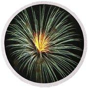 Fireworks Green Flower  Round Beach Towel