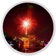 Fireworks In Phoenix Round Beach Towel
