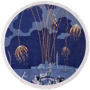 Fireworks In Venice Round Beach Towel