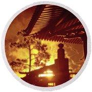 Fireworks, Japan Pavilion, Epcot, Walt Disney World Round Beach Towel