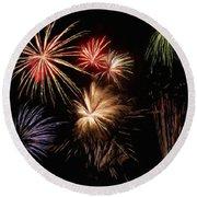Fireworks Round Beach Towel by Jeff Kolker