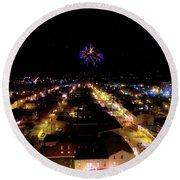 Fireworks Over Hudson Round Beach Towel