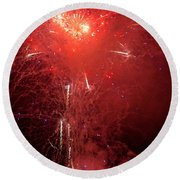 Fireworks Over Humboldt Bay Round Beach Towel