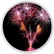 Fireworks Over Lake #15 Round Beach Towel