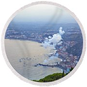 Fireworks Over Sicily Round Beach Towel
