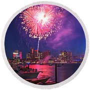 Fireworks Over The Boston Skyline Boston Harbor Illumination Round Beach Towel