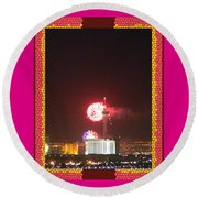 Fireworks Over The Las Vegas Strip Round Beach Towel