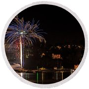 Fireworks Shaldon 2015 Round Beach Towel