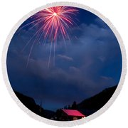 Fireworks Show In The Mountains Round Beach Towel