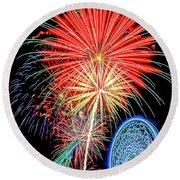 Fireworks-wildwood Nj Boardwalk Round Beach Towel