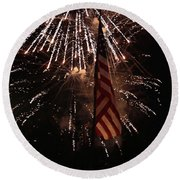 Fireworks With Flag Round Beach Towel
