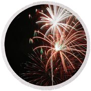 Fireworks6521 Round Beach Towel