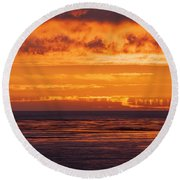Firey Sunset Sky Round Beach Towel