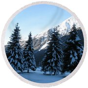 Firs In The Snow Round Beach Towel