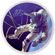 First American Walking In Space, Edward Round Beach Towel
