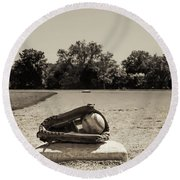 First Base In Sepia Round Beach Towel