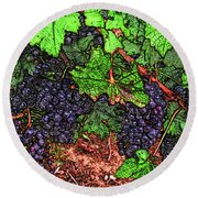 First Came The Grape Round Beach Towel