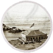 First Cliff House  View Of Ropes From The Cliff House To Seal Rock Circa 1865 Round Beach Towel