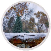 First Colorful Autumn Snow Round Beach Towel