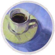 First Cup Round Beach Towel