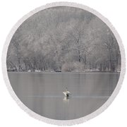 First Day Of Spring Swan Lake Round Beach Towel