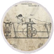 First Exercise Machine Patent Round Beach Towel