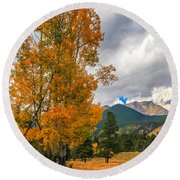 First Fall Colors In Rocky Mountain National Park Round Beach Towel