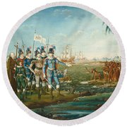 First Landing Of Christopher Columbus Round Beach Towel