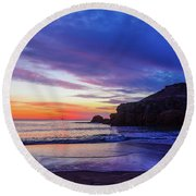 First Light At Trow Rocks. Round Beach Towel