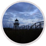 Daybreak At Doubling Point Light  Round Beach Towel