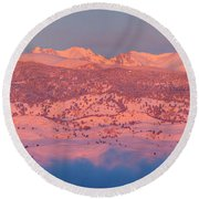 First Light Colorado Rocky Mountains Panorama Round Beach Towel