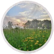 First Light In Glacial Park Round Beach Towel