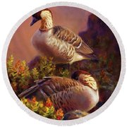 First Light Nene Hawaiian Goose Round Beach Towel