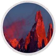 First Light On Cerro Torre - Patagonia Round Beach Towel