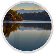 First Light On Fannette Island Round Beach Towel
