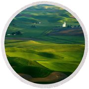 First Light On The Palouse Round Beach Towel