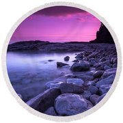 First Light On The Rocks At Indian Head Cove Round Beach Towel