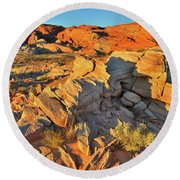 First Light On Valley Of Fire State Park Round Beach Towel