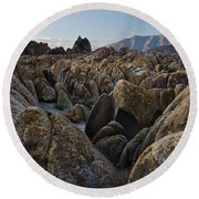 First Light Over Alabama Hills California Round Beach Towel
