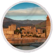 First Light Over Collioure Round Beach Towel