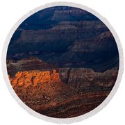 First Light Over Yavapai Point  Grand Canyon Round Beach Towel