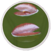 First Lily Pads - Brush Strokes Round Beach Towel