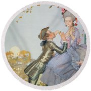 First Love Round Beach Towel by Konstantin Andreevic Somov